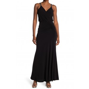 Ruched Embellished Strap Gown