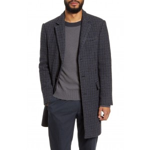Slim Fit Plaid Wool Blend Topcoat