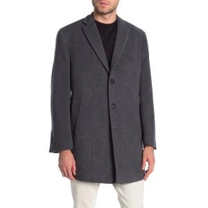 Heathered Three Button Notch Lapel Slim Fit Coat