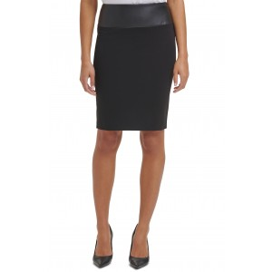 Faux Leather Waist Pencil Skirt
