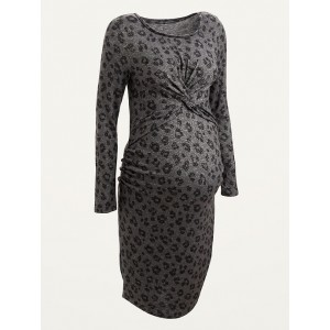 Maternity Cozy Plush-Knit Twist-Front Bodycon Dress