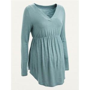 Maternity Slub-Knit V-Neck Tunic Top