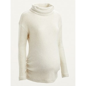 Maternity Cozy Thermal-Knit Cowl-Neck Long-Sleeve Top