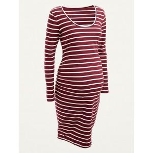 Maternity Striped Jersey Bodycon Dress