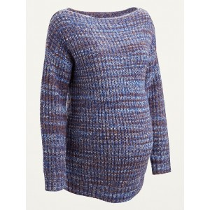 Maternity Space-Dye Boat-Neck Sweater