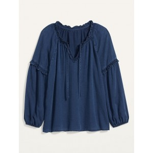 Ruffled Tie-Neck Chambray Poet Blouse for Women