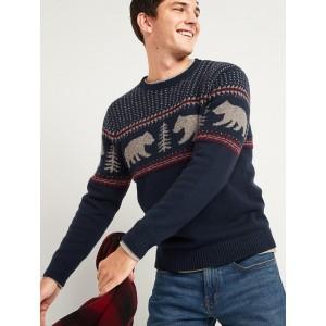 Cozy Fair Isle Crew-Neck Sweater for Men