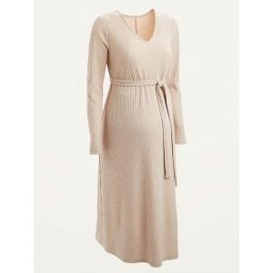 Maternity Rib-Knit V-Neck Tie-Belt Midi Dress