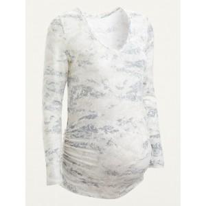 Maternity Tie-Dye V-Neck Long-Sleeve Top