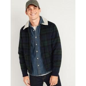 Plaid Wool Sherpa-Collar Bomber Jacket for Men
