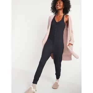 Sleeveless Plush-Knit Pajama Jumpsuit for Women