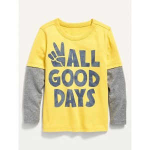 2-in-1 Long-Sleeve Graphic Tee for Toddler Boys