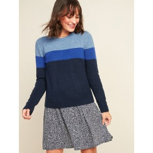 Cozy Color-Blocked Crew-Neck Sweater for Women