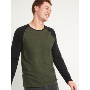 Soft-Washed Color-Block Long-Sleeve Tee for Men