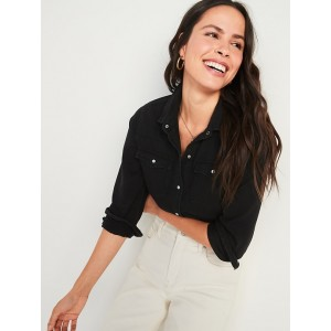 Relaxed Western Black Jean Shirt for Women