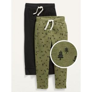 Unisex 2-Pack Functional-Drawstring Jogger Sweatpants for Toddler