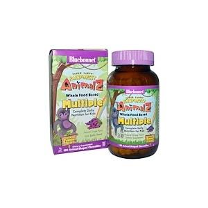 Bluebonnet Nutrition Rainforest Animalz Whole Food Based Multiple Natural Grape Flavor 180 Chewables