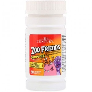21st Century Zoo Friends Complete Childrens Multivitamin / Multimineral Supplement 60 Chewable Tablets