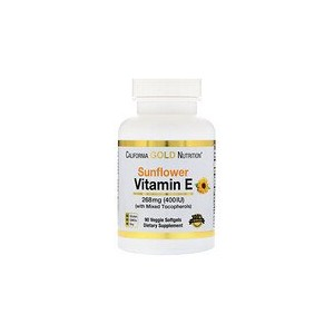 California Gold Nutrition Sunflower Vitamin E with Mixed Tocopherols 400 IU 90 Veggie Softgels