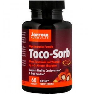 Jarrow Formulas Toco-Sorb Mixed Tocotrienols and Vitamin E 60 Softgels
