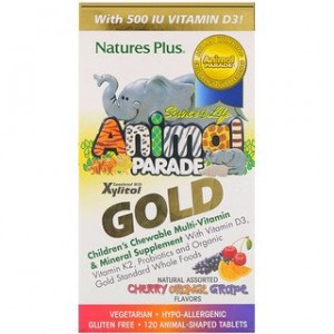 Natures Plus Source of Life Animal Parade Gold Childrens Chewable Multi-Vitamin & Mineral Supplement Natural Assorted Flavors 120 Animal-Shaped Tablets