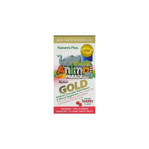 Natures Plus Source of Life Animal Parade Gold Childrens Chewable Multi-Vitamin & Mineral Supplement Natural Cherry Flavor 120 Animal-Shaped Tablets