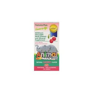 Natures Plus Source of Life Animal Parade Childrens Chewable Multi-Vitamin and Mineral Supplement Natural Cherry Flavor 180 Animals