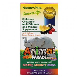 Natures Plus Animal Parade Childrens Chewable Multi-Vitamin and Mineral Assorted Flavors 180 Animal-Shaped Tablets