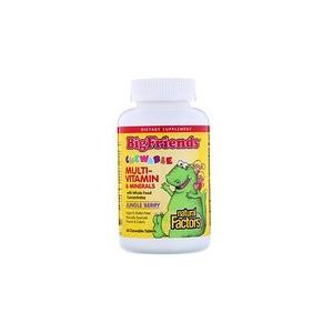 Natural Factors Big Friends Chewable Multi-Vitamin & Minerals Jungle Berry 60 Chewable Tablets