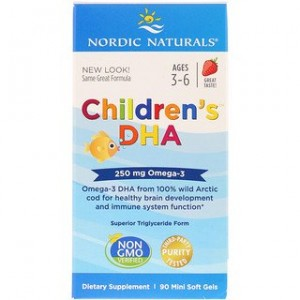 Nordic Naturals Childrens DHA Strawberry 90 Mini Soft Gels