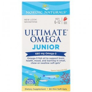 Nordic Naturals Ultimate Omega Junior Strawberry 680 mg 90 Mini Soft Gels