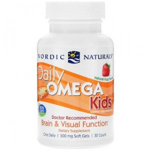 Nordic Naturals Daily Omega Kids Natural Fruit Flavor 500 mg 30 Soft Gels