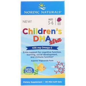 Nordic Naturals Childrens DHA Xtra Berry Punch 636 mg 90 Mini Soft Gels