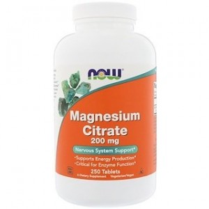 Now Foods Magnesium Citrate 200 mg 250 Tablets