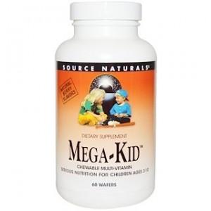 Source Naturals Mega-Kid Chewable Multi-Vitamin Natural Berry Flavors 60 Wafers