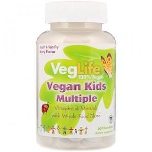 VegLife Vegan Kids Multiple Berry Flavor 60 Chewables