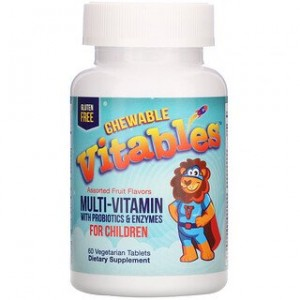 Vitables Chewable Multi-Vitamins with Probiotics & Enzymes for Children Assorted Fruit Flavors 60 Vegetarian Tablets