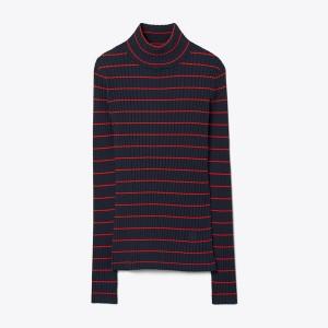 Striped Ribbed Soft Tech Knit Turtleneck
