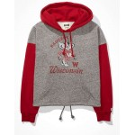 Tailgate Womens Boston Red Sox Colorblock Cropped Hoodie