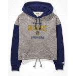 Tailgate Womens Milwaukee Brewers Colorblock Cropped Hoodie