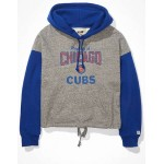 Tailgate Womens Chicago Cubs Colorblock Cropped Hoodie