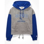Tailgate Womens LA Dodgers Colorblock Cropped Hoodie