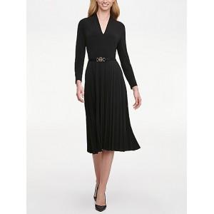 Essential Pleated Long-Sleeve Dress