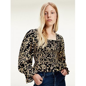 Recycled Smocked Print Blouse