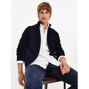 Cotton Cashmere Zip Cardigan