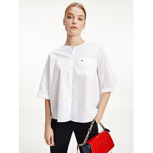 Relaxed Fit Collarless Shirt
