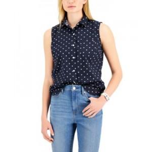 Cotton Polka-Dot Sleeveless Shirt
