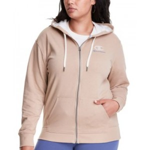 Plus Size Campus Zippered Hoodie