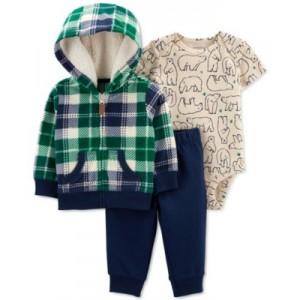 Baby Boys 3-Pc. Bodysuit, Pants & Plaid Jacket Set