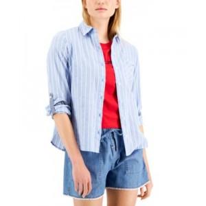 Ibiza Cotton Eyelet-Stripe Roll-Tab Shirt
